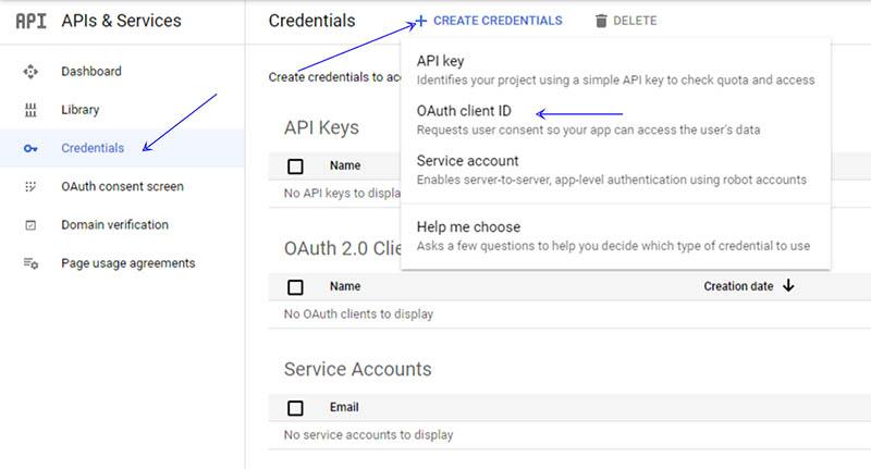 הגדרת אפליקציית התחברות ב-Google APIs - Create Credentials