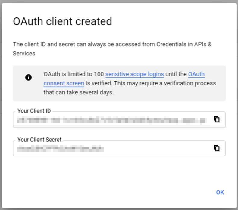 Google API - OAuth cliant created