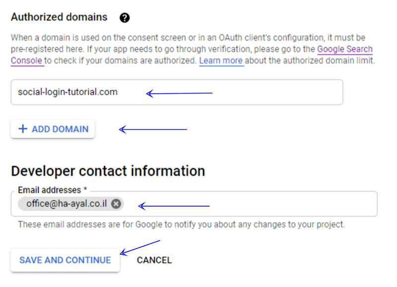 הגדרת אפליקציית התחברות ב-Google APIs - אימות דומיין