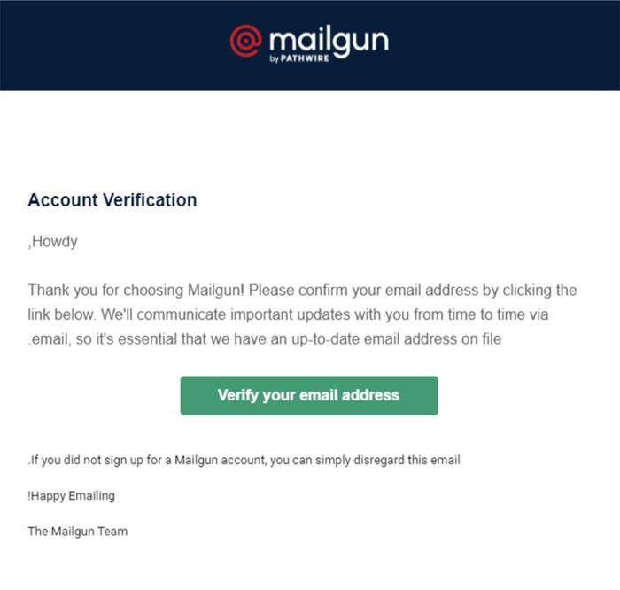 אימייל הפעלה של Mailgun
